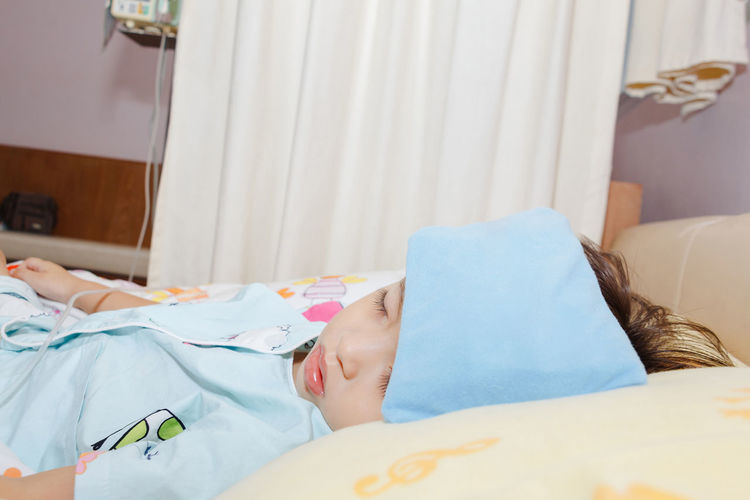 Baby Cancer Hospital Kids Babyhood Bed Bedroom Boys Child Childcare Cute Flu Grippe H1n1 Healthy Eating Home Interior Human Hand Illness Influenza Pillow Real People Sad Sick Sleeping Unwell