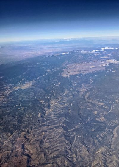 Old lava flow eroding. Vertical Curvature Of The Earth Desert Colors Desert Arid Landscape Arid Climate Physical Geography Geology Western USA Rugged Landscape Aerial View Nature Landscape Scenics Tranquility Beauty In Nature Outdoors