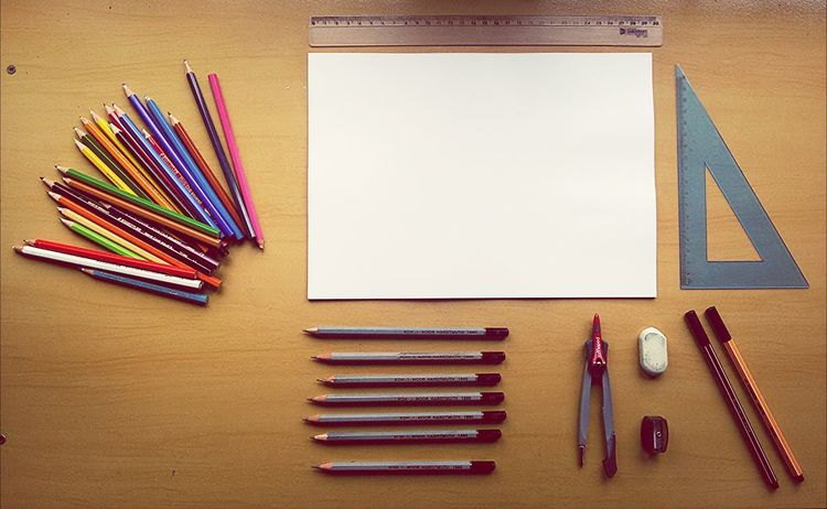 Things Organized Neatly Drawing Time Pencils