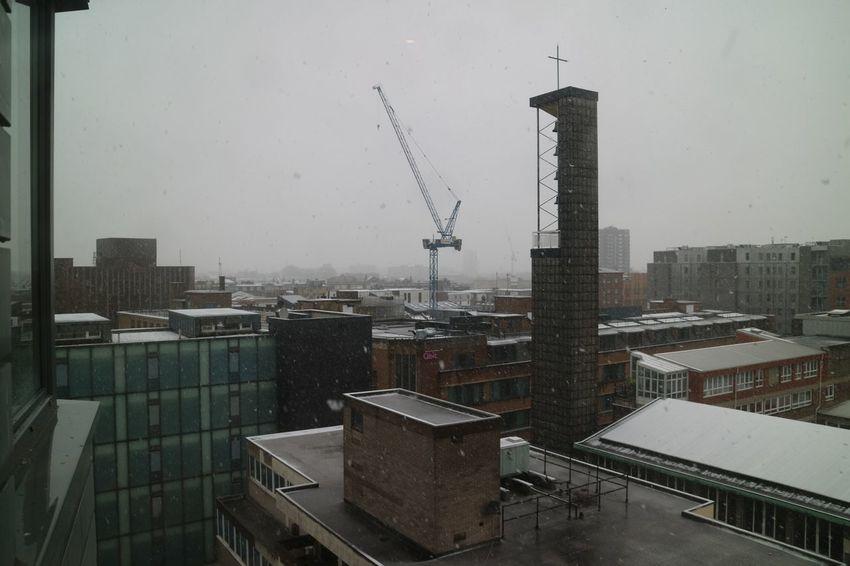 Church City London Architecture Cityscape No People Outdoors Sky Snow Snowfall Snowflakes Urban Window Wintwer
