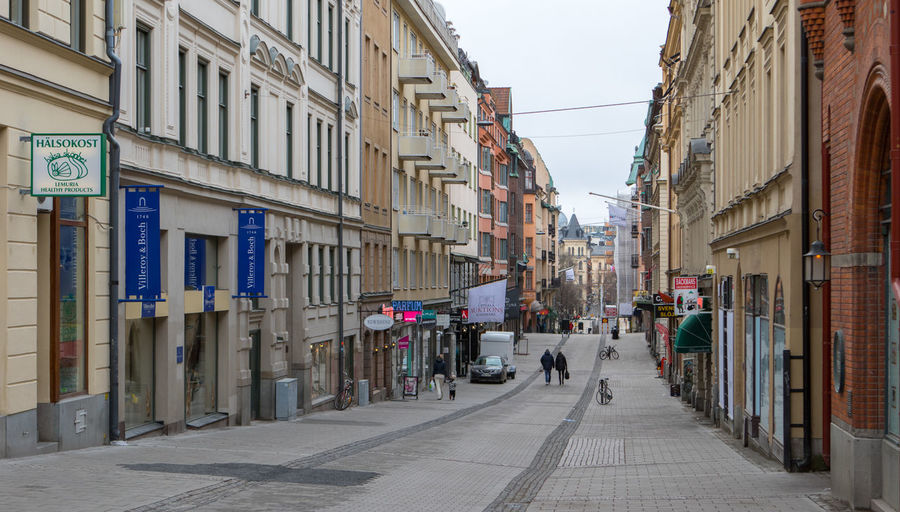 View of city street with buildings in background