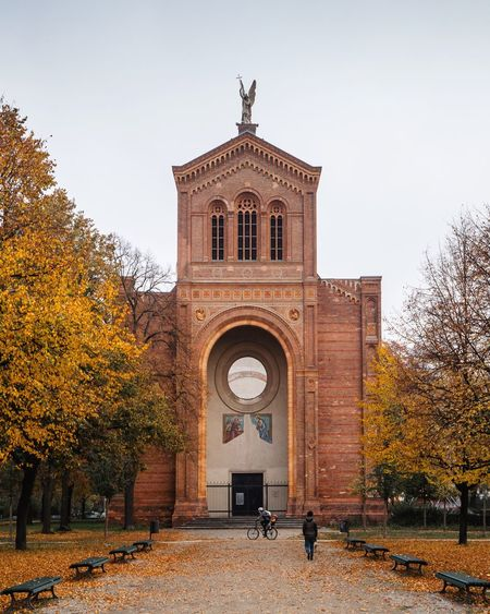 View of cathedral against sky during autumn