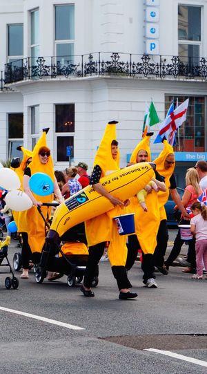 Have a fair trade banana Banana Banana Costume Yellow People Carnival Spirit Carnival Parading Fair Trade