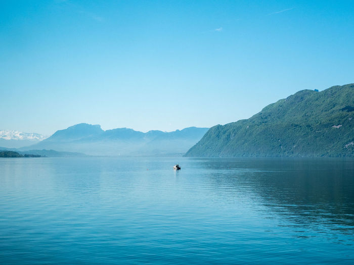 Beauty In Nature Blue Calm Day Idyllic Lake Landscape Majestic Mountain Mountain Range Nature No People Non Urban Scene Non-urban Scene Outdoors Remote Rippled Scenics Sky Tranquil Scene Tranquility Water Waterfront