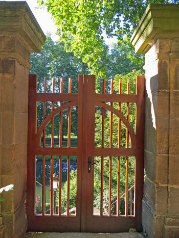 Gate Architecture Built Structure Closed Closed Gate Day Door Gate No People Outdoors Peaceful Place Protection Safety Tree Wood - Material