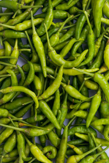 Full frame shot of green chili peppers for sale