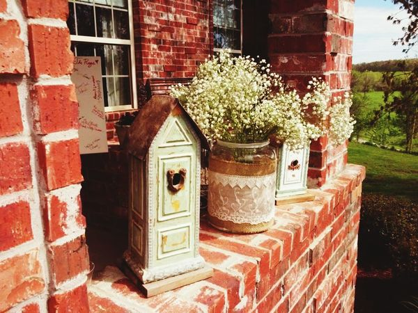 Baby's Breath Flower Delicate Pretty Brick Wall Birdhouse april wedding