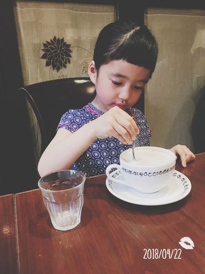 tea time◡̈⃝︎⋆︎* Chai Drink Daughter Girl One Person Real People Food And Drink Childhood Sitting Lifestyles Leisure Activity