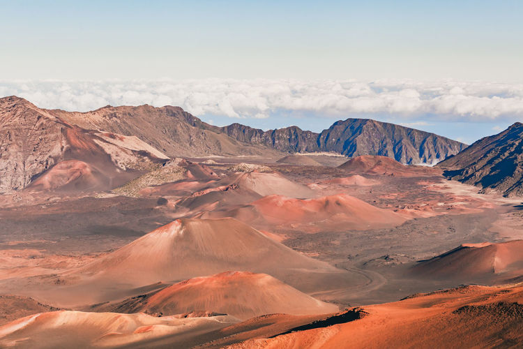 Scenic view of mountains against sky in maui, hawaii