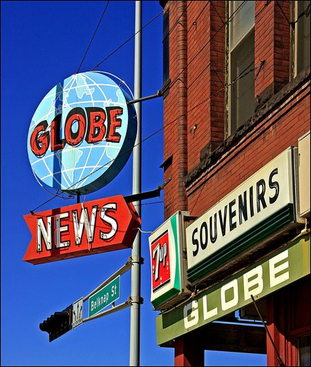 GLOBE NEWS ~ Superior, Wisconsin USA ~ Neon Sign Text Communication Western Script Low Angle View Architecture Building Exterior No People Road Sign Guidance Sky Road City Information Arrow Symbol Nature Blue Outdoors Day Built Structure