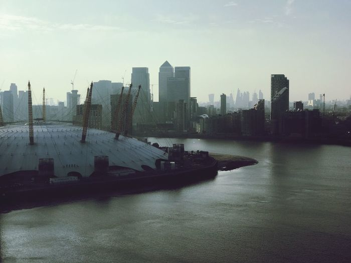 O2 London Travel Destinations Urban Skyline City Skyscraper Architecture Cityscape Modern Building Exterior Downtown District Built Structure Water Skyline City Life Financial District  River Waterfront Sky No People Outdoors Nautical Vessel Postcode Postcards