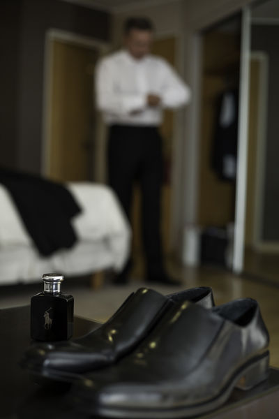 Elegence Shoe Wedding Wedding Photography Clothing Focus On Foreground Indoors  Males  Men Shoes One Person Perfume Perfume Bottle Real People Shoes Standing Wedding Day