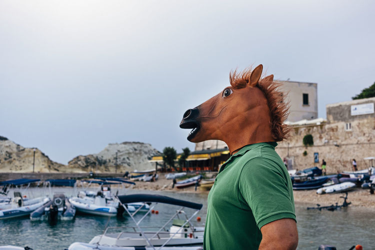 Horse man looking to a relaxing and beautiful sea view from the bay in evening hours