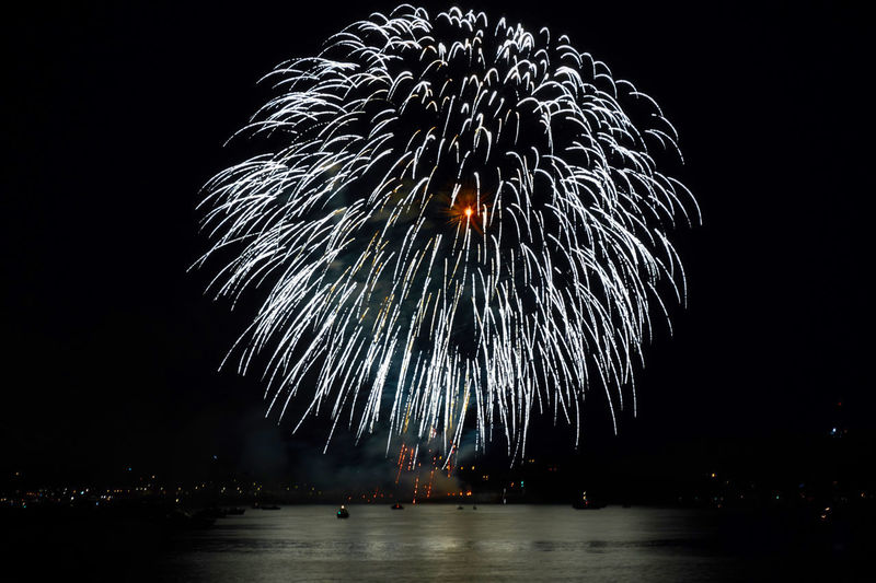 Arts Culture And Entertainment Blurred Motion Celebration Dark Event Exploding Firework Firework - Man Made Object Firework Display Glowing Illuminated Light Long Exposure Low Angle View Motion Nature Night No People Outdoors Sky Sparks Water