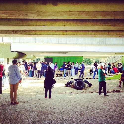 Built Structure Group Of People Large Group Of People Lifestyles Under Bridge