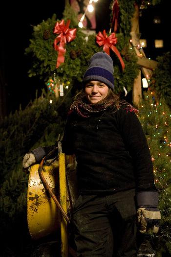 Christmas Season Christmas Tree Christmas Tree Girl, Christmas Tree Seller Red, Green And Ye Winter Night Manhattan Ny The Portraitist - 2016 EyeEm Awards