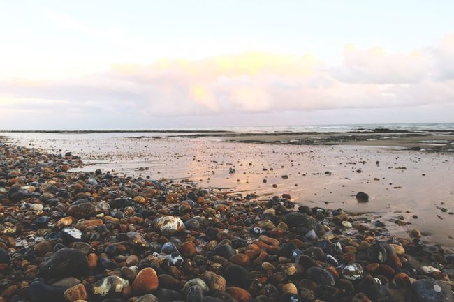 Sea Beach Horizon Over Water Pebble Beach Beauty In Nature Tranquil Scene No People Sea And Sky Ukseaside Bleak Autumn Pebbles Tide Out Tidepools Serene Grey Grey Sky Sunset