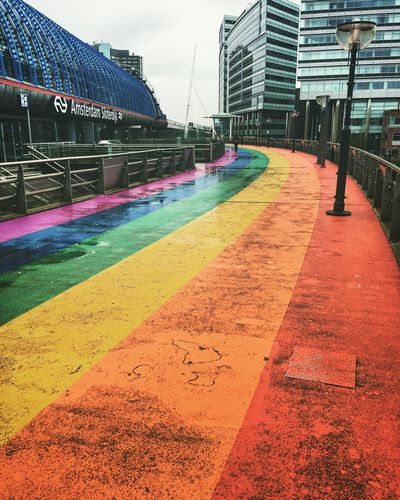 Building Exterior Built Structure Architecture City Outdoors Day No People Sky Train Train Station Rainbow Colors Pride Amsterdam