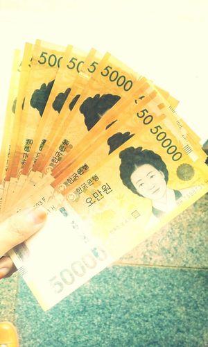 오만원!! ㅇ_< 흐흐 좋당! Korean Money 오만원 한국 Korea