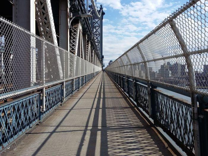 Walking down the Manhattan Bridge. · New York City New York New York ❤ NYC USA Bridge Architecture Steel Lines Diagonals Perspective Horizon Infinity Light And Shadow Urban Landscape The Purist (no Edit, No Filter)