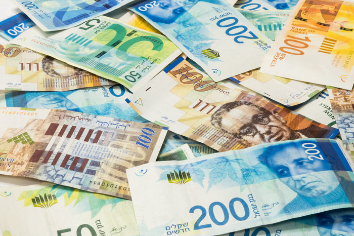 Israeli money stack of new Israeli banknotes of different value in shekels (NIS) Business Currency Economy Foreign Market Niš New Rich Sale Bank Banknote Cash Color Commerce Credit Economic Exchange Finance Investment Israel Money Paper Pay Shekel Wealth