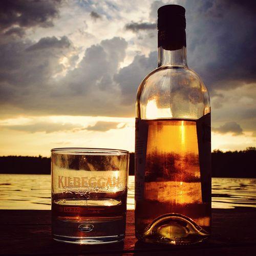Whisky is not the answer, it's the question. Enjoy Irishwhiskey Kilbeggan Enjoying Life Lake Whiskey Refreshment Glass Drinking Glass Sunset Nature Water No People