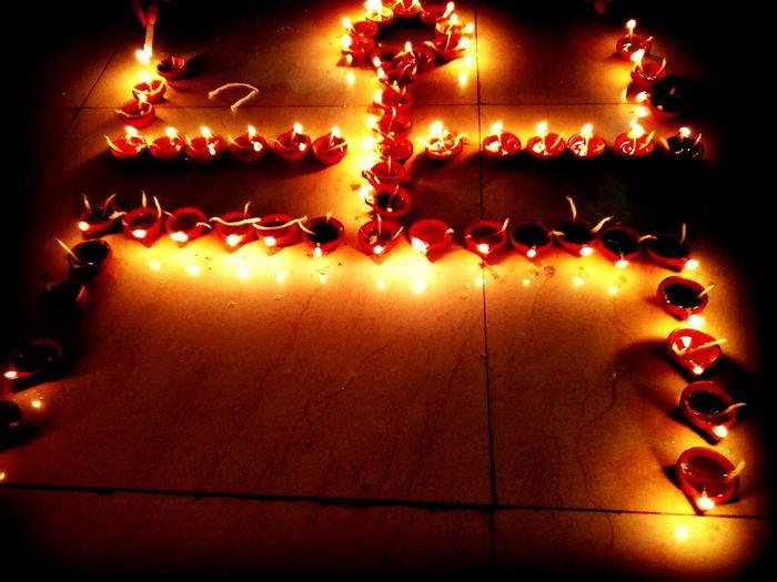 Diwali💟🎇🎆🌌 Swastik Lamps Light Celebration Rayofhope Rayoflight Happiness ♡ OnePlusTwo.