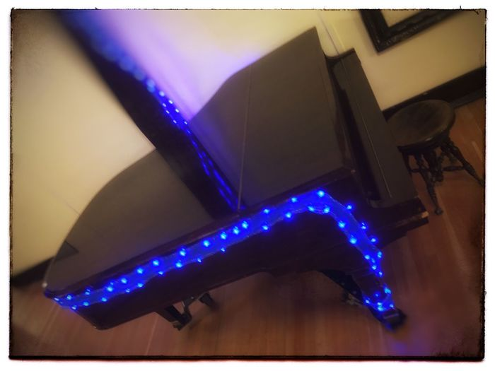 Christmas piano Christmas Lights Piano Illuminated Blue Indoors