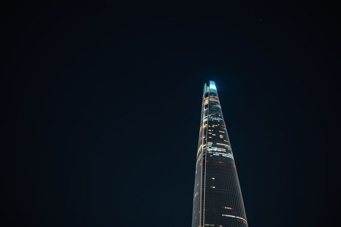 Stargazing night Night Architecture Tall - High Minimalism Built Structure Illuminated Tower Modern Skyscraper Building Exterior No People Outdoors Clear Sky Travel Destinations City Sky Illumination Lotteworld Tower Highrise Seoul Korea Skyline Stars Office Building The Week On EyeEm