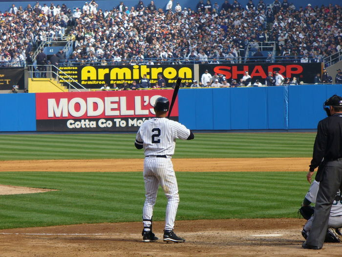 Only Men Full Length Stadium Adults Only Sportsman Adult Young Adult Text One Man Only People Outdoors Men Competition Match - Sport Derek Jeter  Jeter Yankees Derek Jeter  Baseball Uniform Yankee Stadium