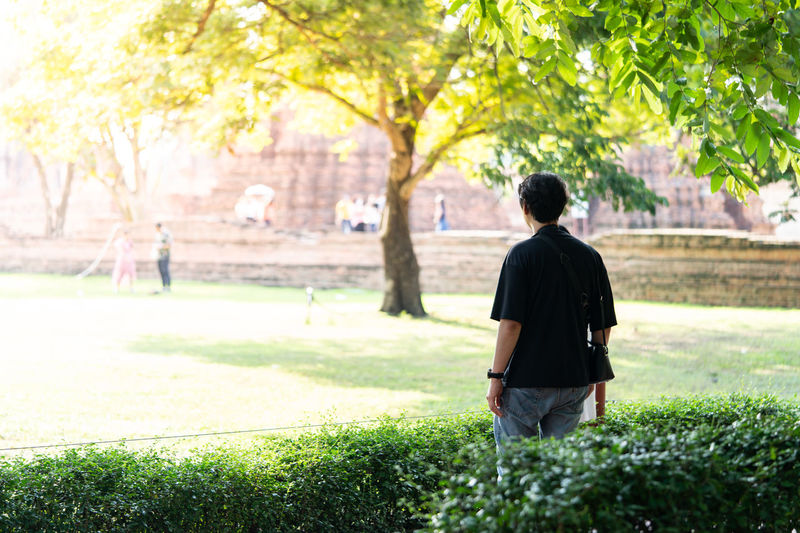 Rear view of man standing in park
