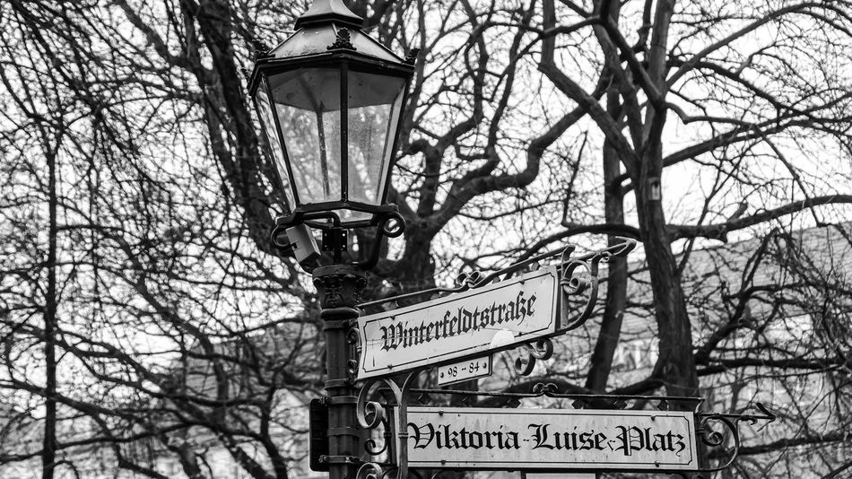 Architecture B&w Bare Tree Black And White Branch Communication Day Lamp Low Angle View Minute Hand No People Outdoors Schöneberg Sky Strassenlaterne Straßenschild Street Lamp Street Light Text Tree Viktoria-luise-platz