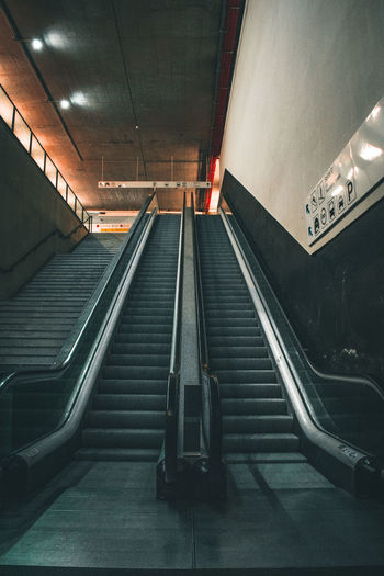 High angle view of escalator in subway
