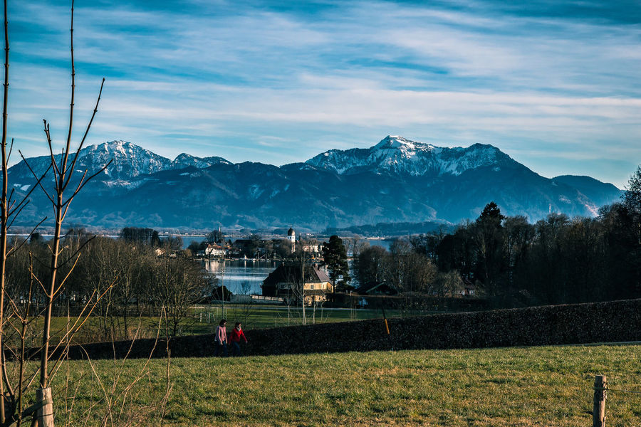 Blick von Gstadt am Chiemsee zur Fraueninsel Adult Adults Only Architecture Beauty In Nature Cloud - Sky Cold Temperature Day Island Lakeview Landscape Mountain Mountain Range Nature Outdoors People Scenics Sky Snow Village