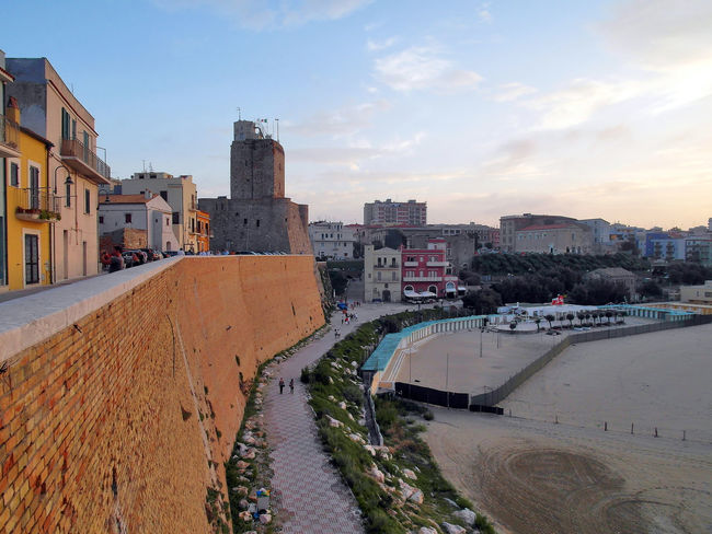 Promenade of the historic center of Termoli Castle Modern Architecture Termoli  Wall Architecture Beach Building Exterior Buildings Built Structure City Cityscape Italy Molise Outdoors Sky Sunset Termoli City Town Urban Landscape Urban Skyline