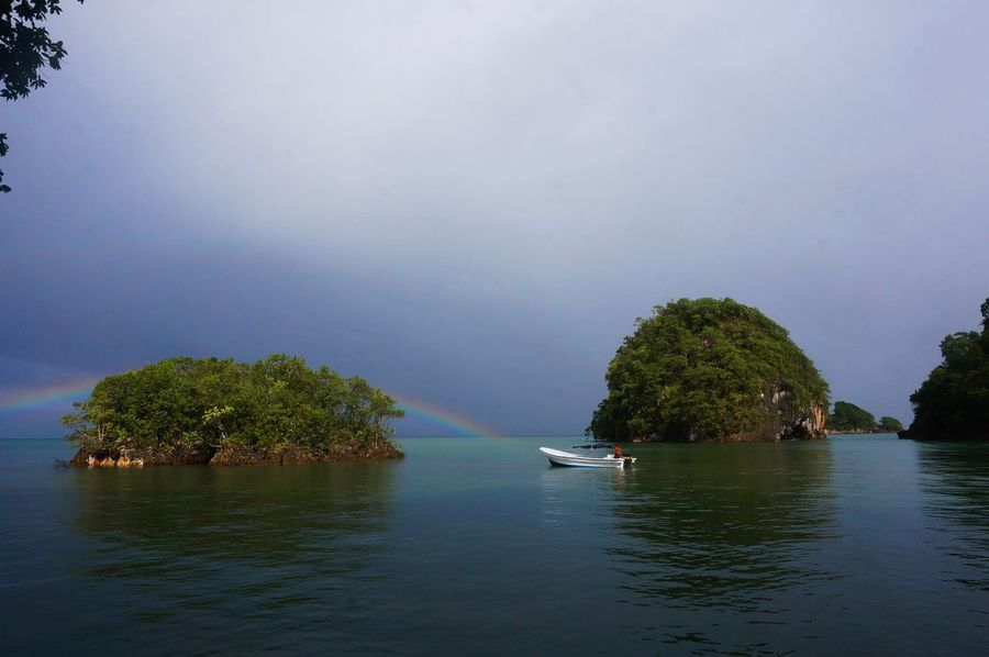 Rainbow over Los Haitises National Park Adventure Beauty In Nature Boat Day Dominican Republic Los Haitises Nature Park Rainbow Samana Water First Eyeem Photo