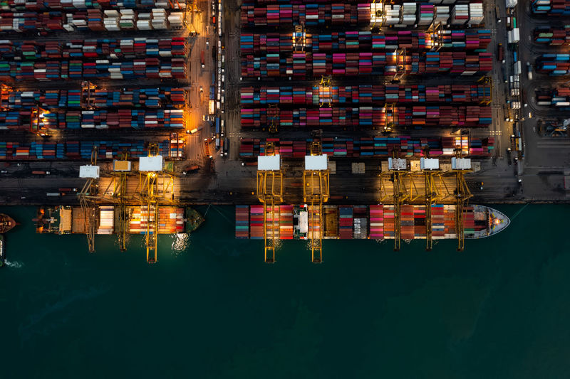 Container ship in import export and business logistic, service international transportation,