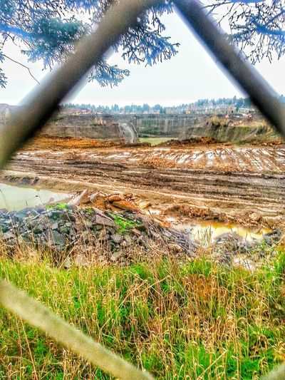 Field Rural Scene Agriculture Day Outdoors Landscape Rock Quarry Looking Through A Fence Portland Oregon Usa