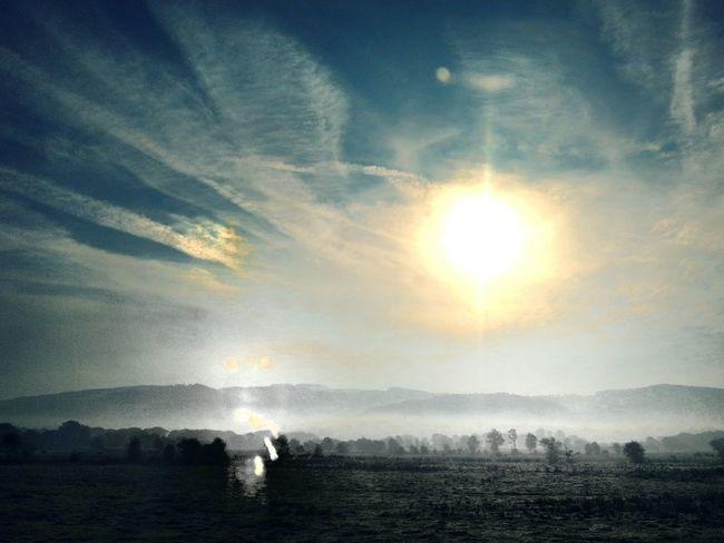 Beautiful morning. Today near Welshpool. Wales Sun Dog Sunrise Fog