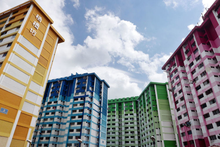Low Angle View Of Colorful Buildings Against Sky