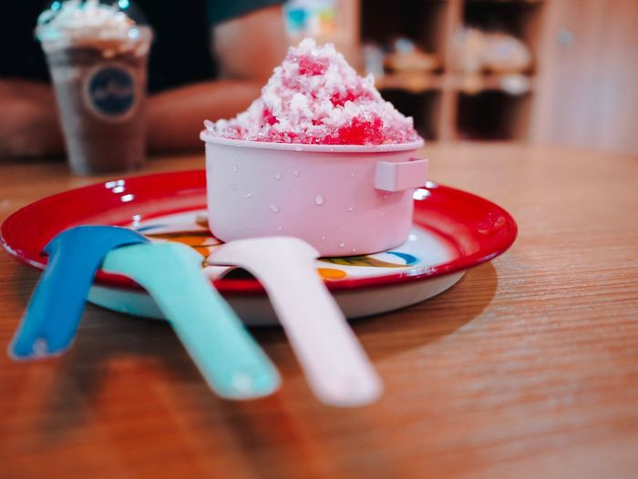 Close-up of ice cream on table