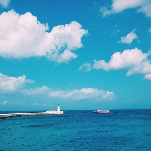 Another stunning day. Valetta Malta . Sky Sea lighthouse