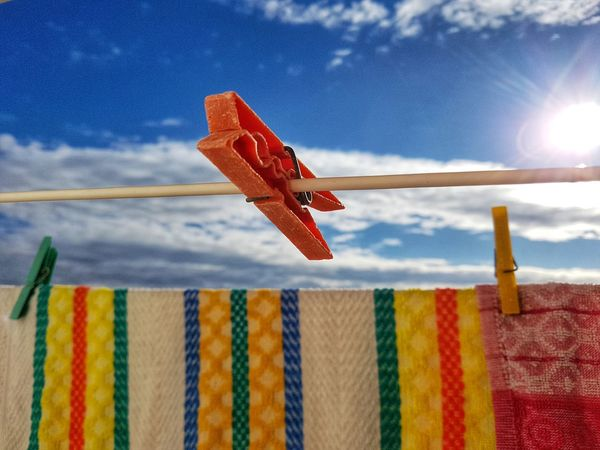 hanging Laundry Day. Laundry Line Doing The Washing Doing The Laundry Clothes Pin Clothes Peg Washing Washed Clothes Clothes Line Sky Hanging Laundry Pin Cloud - Sky No People Low Angle View