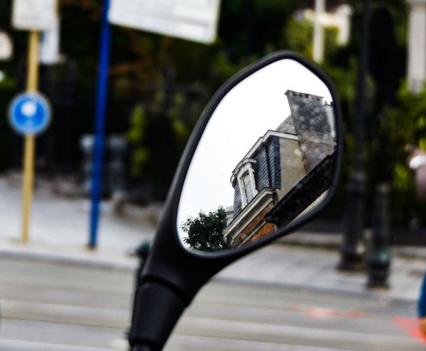 Mansarde. Rear View Reflection Architecture Pivotal IdeasCity Close-up Day Blurry Rain Drops Focus On Foreground Mansard Roof Mode Of Transport Nature Outdoors Part Of Selective Focus Sky Road Sign Streetphotography