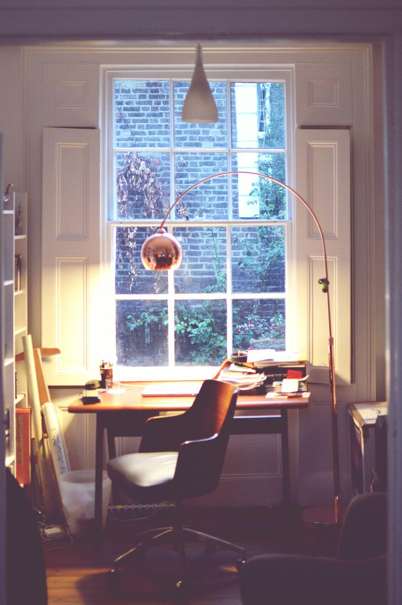 Home office desk by window