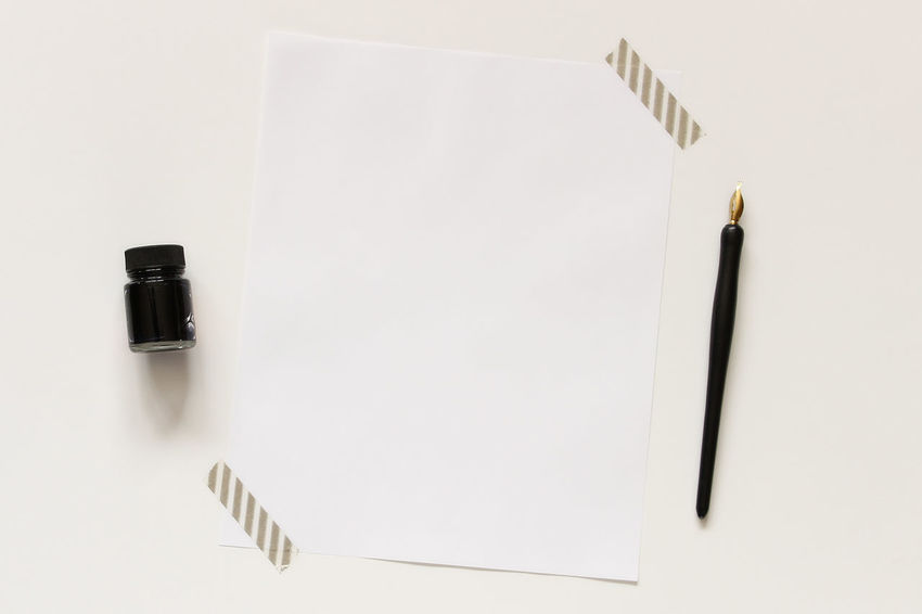 Notes Desk Top Author Black And White Blank Paper Business Desk Flat Lay Minimalism Mock Up Notes Office Overhead Pen And Ink Poster Room For Copy Styled Tools Vintage Work Writing