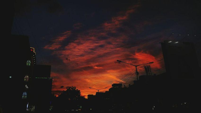 Night Sunset Dramatic Sky Outdoors Silhouette No People Awe Illuminated City Sky Architecture Tree