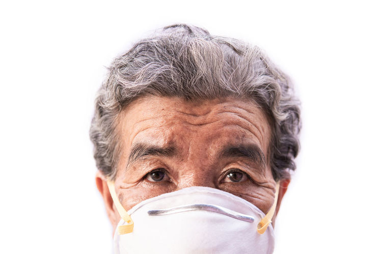 Portrait White Background Gray Hair Adult Human Face Mask Protection Save Healthcare And Medicine