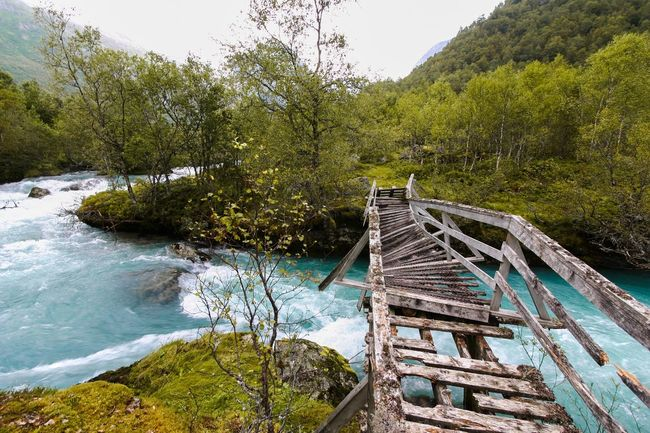 Glacier water Blue River Glacier Land Landscape_photography Landscape Wood Water Bridge Tree Nature Water Day Beauty In Nature Tranquility No People High Angle View Outdoors Forest Scenics Sky