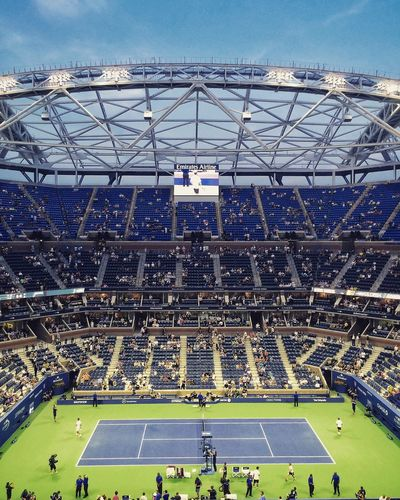 New roof at Arthur Ashe Stadium US Open US Open 2015 Usopen Tenniscourt USOpenTennis Tennis 🎾 Architecture